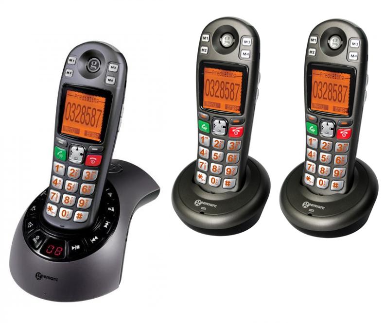 Geemarc amplidect 285 trio t l phone r pondeur sans fil - Telephone sans fil avec repondeur pour senior ...