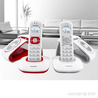 thomson classy duo blanc rouge t l phone fixe sans fil. Black Bedroom Furniture Sets. Home Design Ideas
